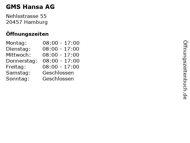 GMS Hansa AG in Hamburg: Adresse und Öffnungszeiten