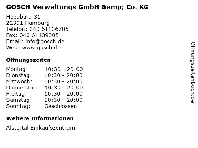 GOSCH Verwaltungs GmbH & Co. KG in Hamburg: Adresse und Öffnungszeiten