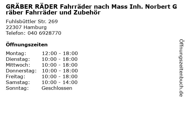 GRÄBER RÄDER Fahrräder nach Mass Inh. Norbert Gräber Fahrräder und Zubehör in Hamburg: Adresse und Öffnungszeiten