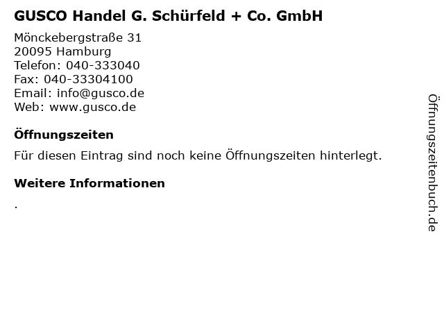 GUSCO Handel G. Schürfeld + Co. GmbH in Hamburg: Adresse und Öffnungszeiten