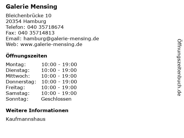 Galerie Mensing in Hamburg: Adresse und Öffnungszeiten
