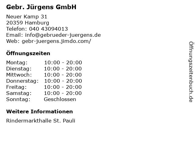 Gebr. Jürgens GmbH in Hamburg: Adresse und Öffnungszeiten