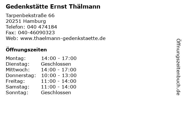 Gedenkstätte Ernst Thälmann in Hamburg: Adresse und Öffnungszeiten