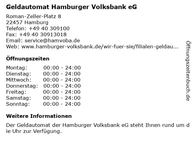 Geldautomat Hamburger Volksbank eG in Hamburg: Adresse und Öffnungszeiten