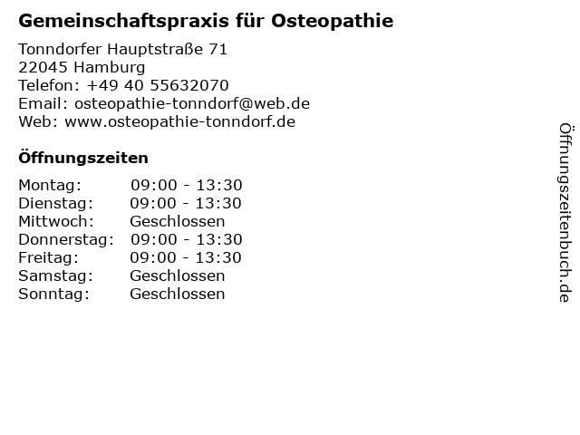 Gemeinschaftspraxis für Osteopathie in Hamburg: Adresse und Öffnungszeiten
