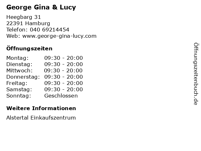 George Gina & Lucy in Hamburg: Adresse und Öffnungszeiten