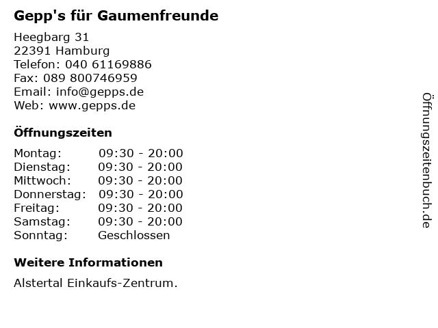 Gepp's für Gaumenfreunde in Hamburg: Adresse und Öffnungszeiten