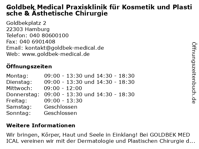 Goldbek Medical Praxisklinik für Dermatologie, Kosmetik, Plastische und Ästhetische Chirurgie in Hamburg: Adresse und Öffnungszeiten