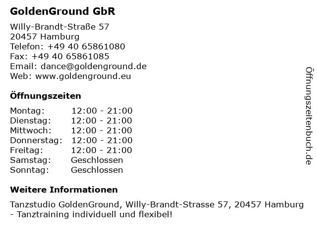 ᐅ öffnungszeiten Goldenground Gbr Willy Brandt Straße 57 In Hamburg
