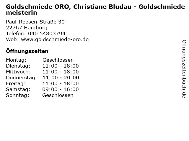 Goldschmiede ORO, Christiane Bludau - Goldschmiedemeisterin in Hamburg: Adresse und Öffnungszeiten