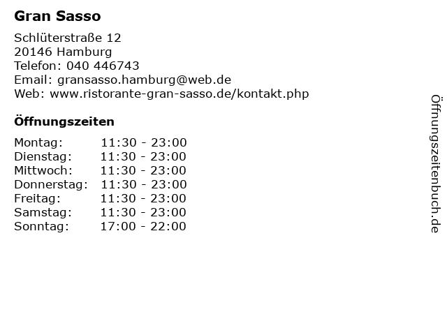 Gran Sasso in Hamburg: Adresse und Öffnungszeiten