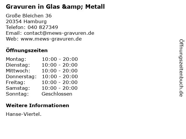 Gravuren in Glas & Metall in Hamburg: Adresse und Öffnungszeiten