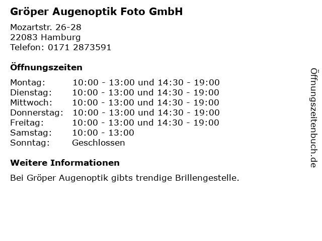 Gröper Augenoptik Foto GmbH in Hamburg: Adresse und Öffnungszeiten