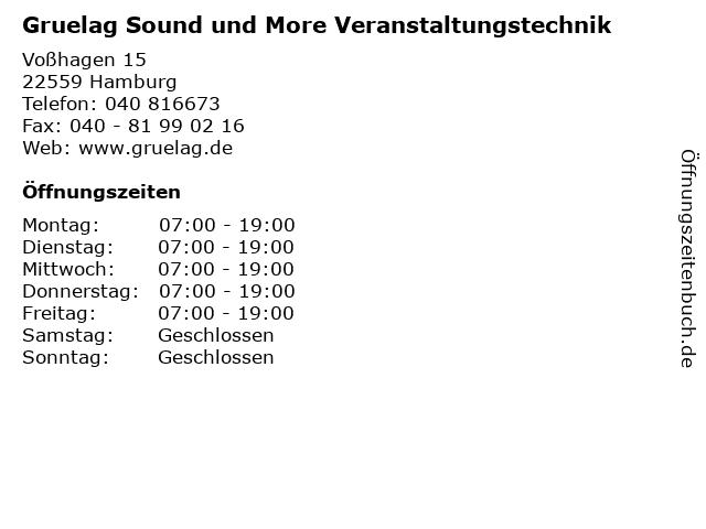 Gruelag Sound und More Veranstaltungstechnik in Hamburg: Adresse und Öffnungszeiten