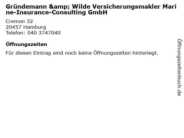 Gründemann & Wilde Versicherungsmakler Marine-Insurance-Consulting GmbH in Hamburg: Adresse und Öffnungszeiten
