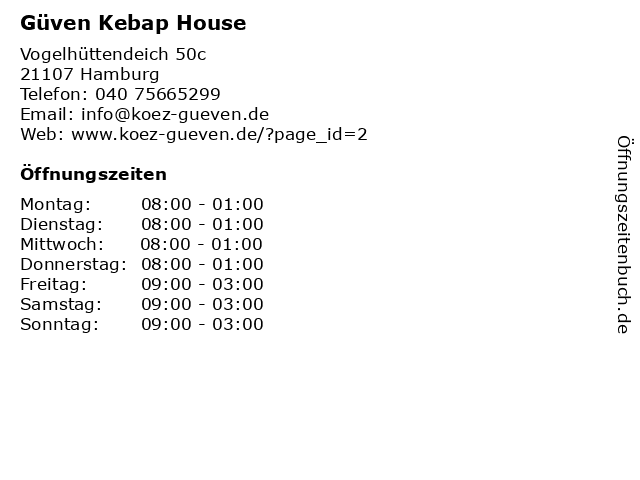 Güven Kebap House in Hamburg: Adresse und Öffnungszeiten