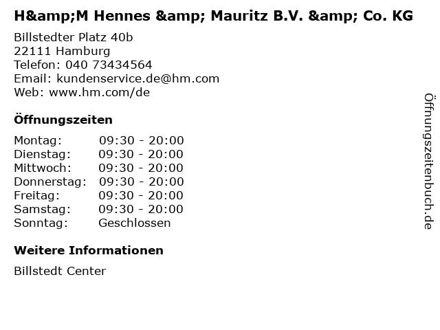 H&M Hennes & Mauritz B.V. & Co. KG in Hamburg: Adresse und Öffnungszeiten