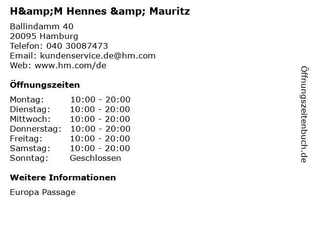 H&M Hennes & Mauritz in Hamburg: Adresse und Öffnungszeiten