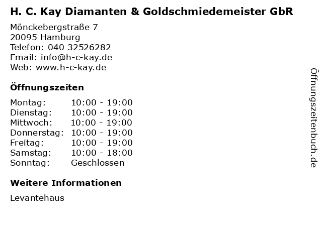 H. C. Kay Diamanten & Goldschmiedemeister GbR in Hamburg: Adresse und Öffnungszeiten