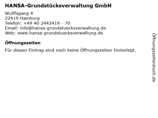 HANSA-Grundstücksverwaltung GmbH in Hamburg: Adresse und Öffnungszeiten