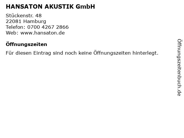 HANSATON AKUSTIK GmbH in Hamburg: Adresse und Öffnungszeiten