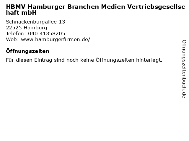 HBMV Hamburger Branchen Medien Vertriebsgesellschaft mbH in Hamburg: Adresse und Öffnungszeiten
