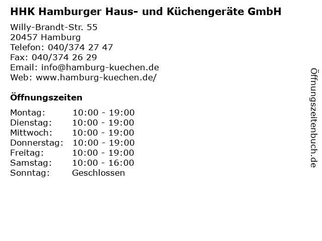 ᐅ Offnungszeiten Hhk Hamburger Haus Und Kuchengerate Gmbh Blank