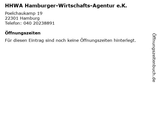 HHWA Hamburger-Wirtschafts-Agentur e.K. in Hamburg: Adresse und Öffnungszeiten