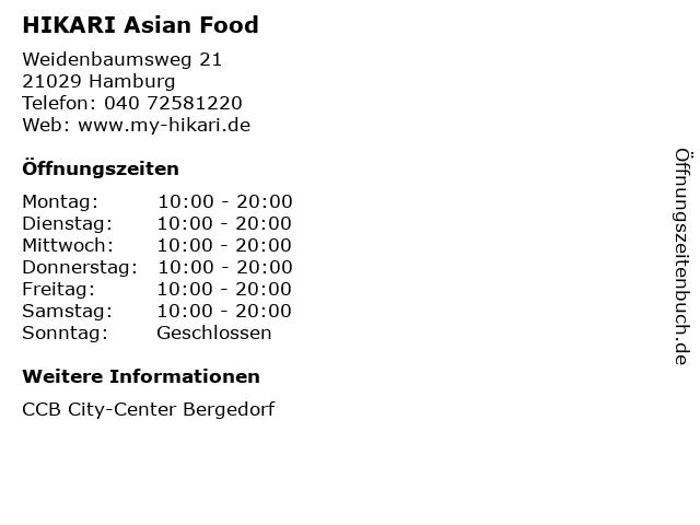 HIKARI Asian Food in Hamburg: Adresse und Öffnungszeiten