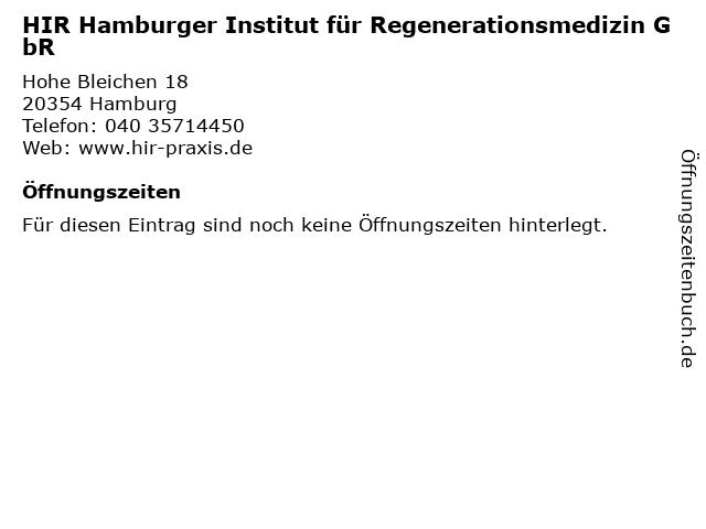 HIR Hamburger Institut für Regenerationsmedizin GbR in Hamburg: Adresse und Öffnungszeiten