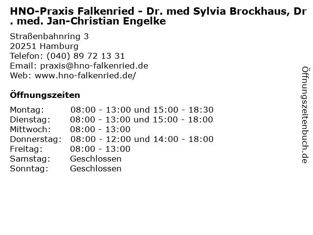 HNO-Praxis Falkenried - Dr. med Sylvia Brockhaus, Dr. med. Jan-Christian Engelke in Hamburg: Adresse und Öffnungszeiten