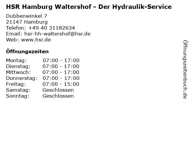 HSR Der Hydraulik-Service in Hamburg: Adresse und Öffnungszeiten
