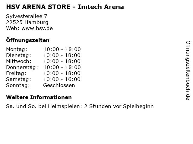 HSV ARENA STORE - Imtech Arena in Hamburg: Adresse und Öffnungszeiten
