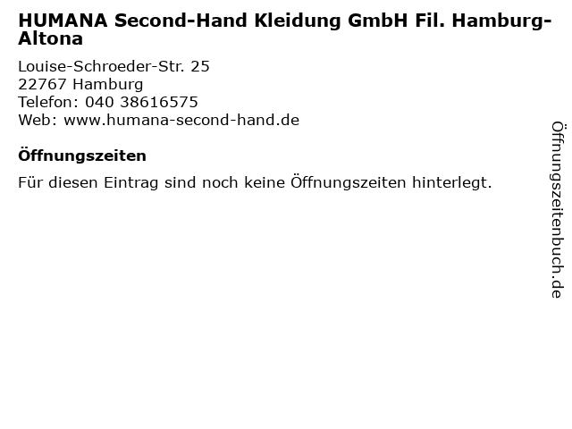 HUMANA Second-Hand Kleidung GmbH Fil. Hamburg-Altona in Hamburg: Adresse und Öffnungszeiten