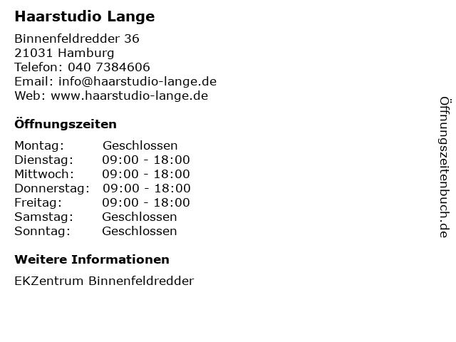 Haarstudio Lange in Hamburg: Adresse und Öffnungszeiten