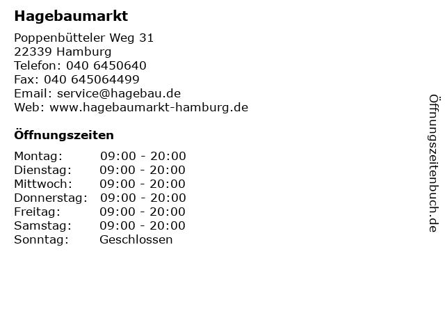 Hagebaumarkt in Hamburg: Adresse und Öffnungszeiten