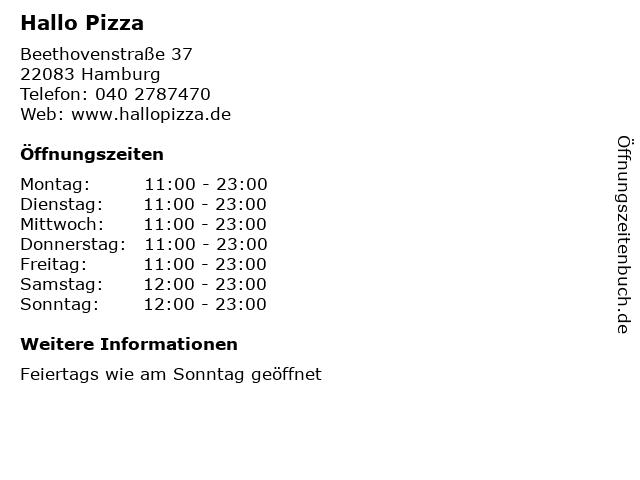 Hallo Pizza in Hamburg: Adresse und Öffnungszeiten