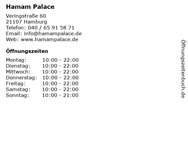 Hamam Palace in Hamburg: Adresse und Öffnungszeiten
