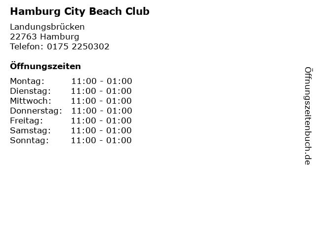 Hamburg City Beach Club in Hamburg: Adresse und Öffnungszeiten