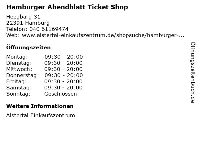 Hamburger Abendblatt Ticket Shop in Hamburg: Adresse und Öffnungszeiten