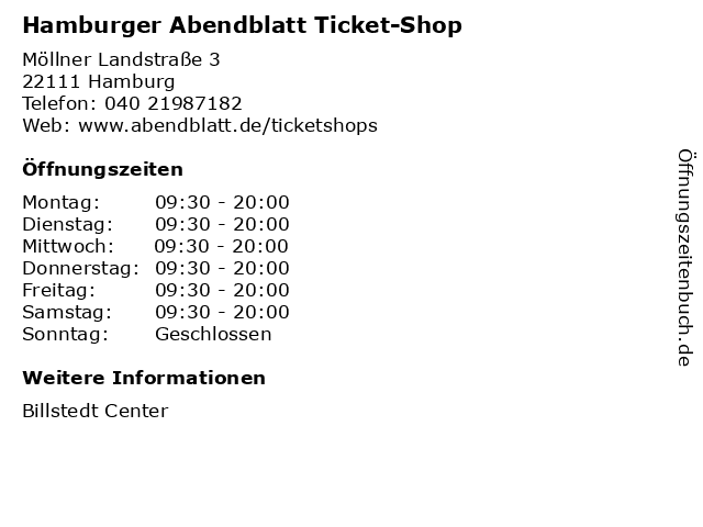 Hamburger Abendblatt Ticket-Shop in Hamburg: Adresse und Öffnungszeiten