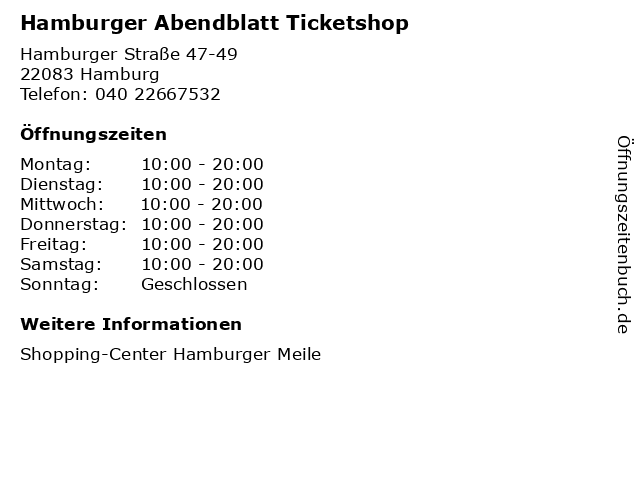 Hamburger Abendblatt Ticketshop in Hamburg: Adresse und Öffnungszeiten