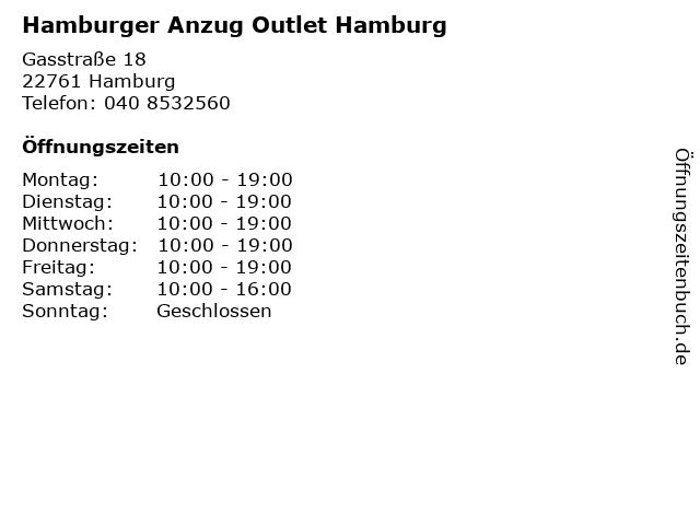 Hamburger Anzug Outlet Hamburg in Hamburg: Adresse und Öffnungszeiten