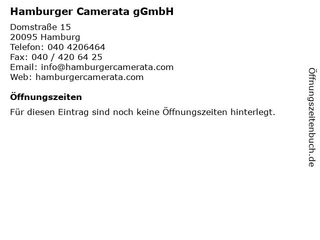 Hamburger Camerata gGmbH in Hamburg: Adresse und Öffnungszeiten
