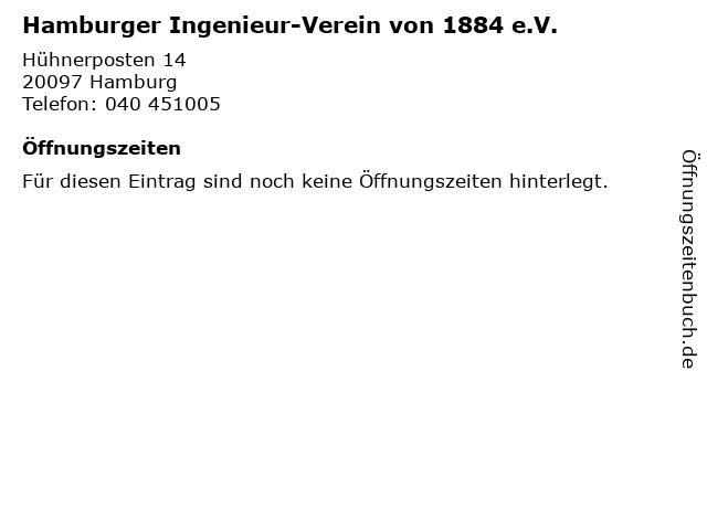 Hamburger Ingenieur-Verein von 1884 e.V. in Hamburg: Adresse und Öffnungszeiten