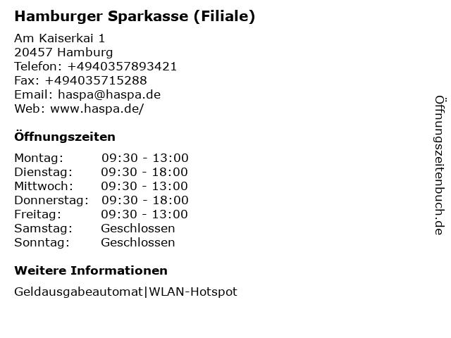Haspa - Hamburger Sparkasse AG - Filiale HafenCity (192) in Hamburg: Adresse und Öffnungszeiten