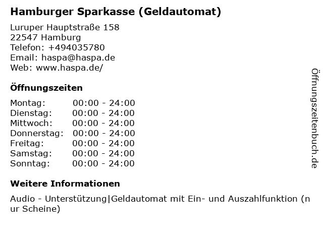Haspa - Hamburger Sparkasse AG - (Geldautomat Filiale) in Hamburg: Adresse und Öffnungszeiten