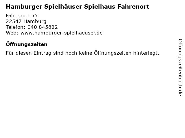 Hamburger Spielhäuser Spielhaus Fahrenort in Hamburg: Adresse und Öffnungszeiten