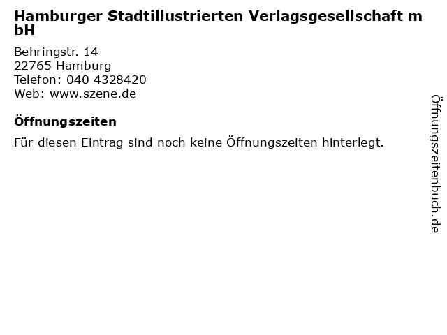 Hamburger Stadtillustrierten Verlagsgesellschaft mbH in Hamburg: Adresse und Öffnungszeiten