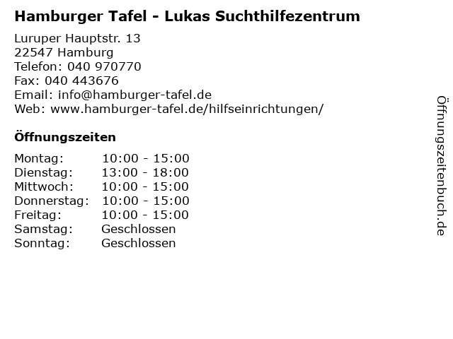 Hamburger Tafel - Lukas Suchthilfezentrum in Hamburg: Adresse und Öffnungszeiten